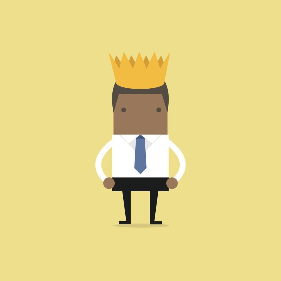 uomo d'affari africano che indossa una corona. vettore