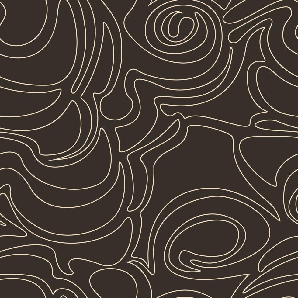 modello vettoriale senza soluzione di continuità di forme astratte isolato su uno sfondo marrone scuro. trama semplice in uno stile lineare di colore pastello beige su uno sfondo scuro.