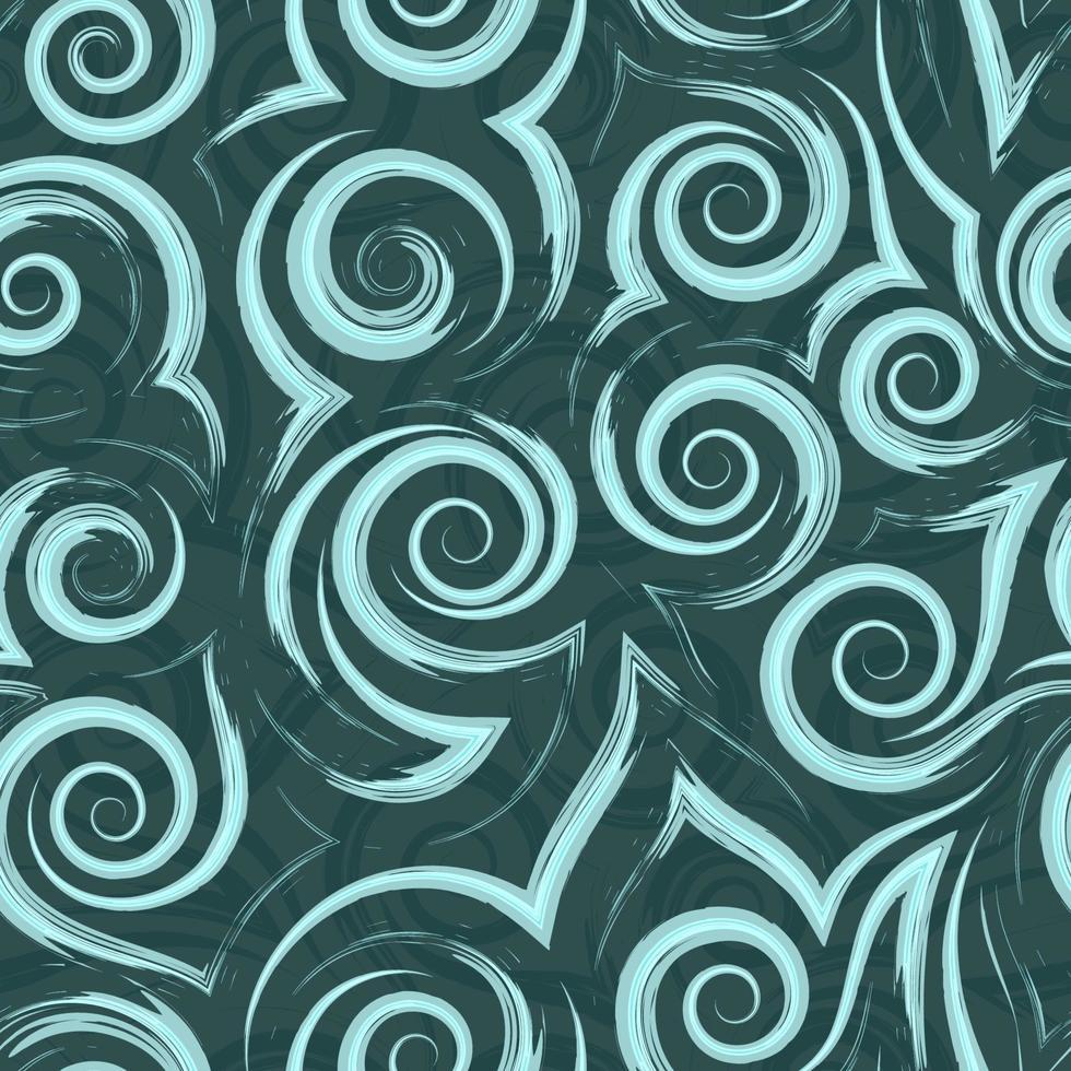 Modello vettoriale senza soluzione di continuità di spirali, linee morbide e angoli di colore turchese su sfondo verde. trama di onde e riccioli