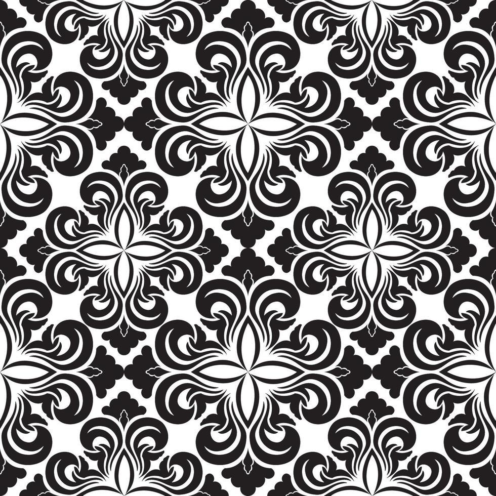 motivo decorativo vettoriale senza soluzione di continuità di elementi floreali neri sotto forma di un rombo su sfondo bianco. trama simmetrica per la decorazione di tessuti o involucri.