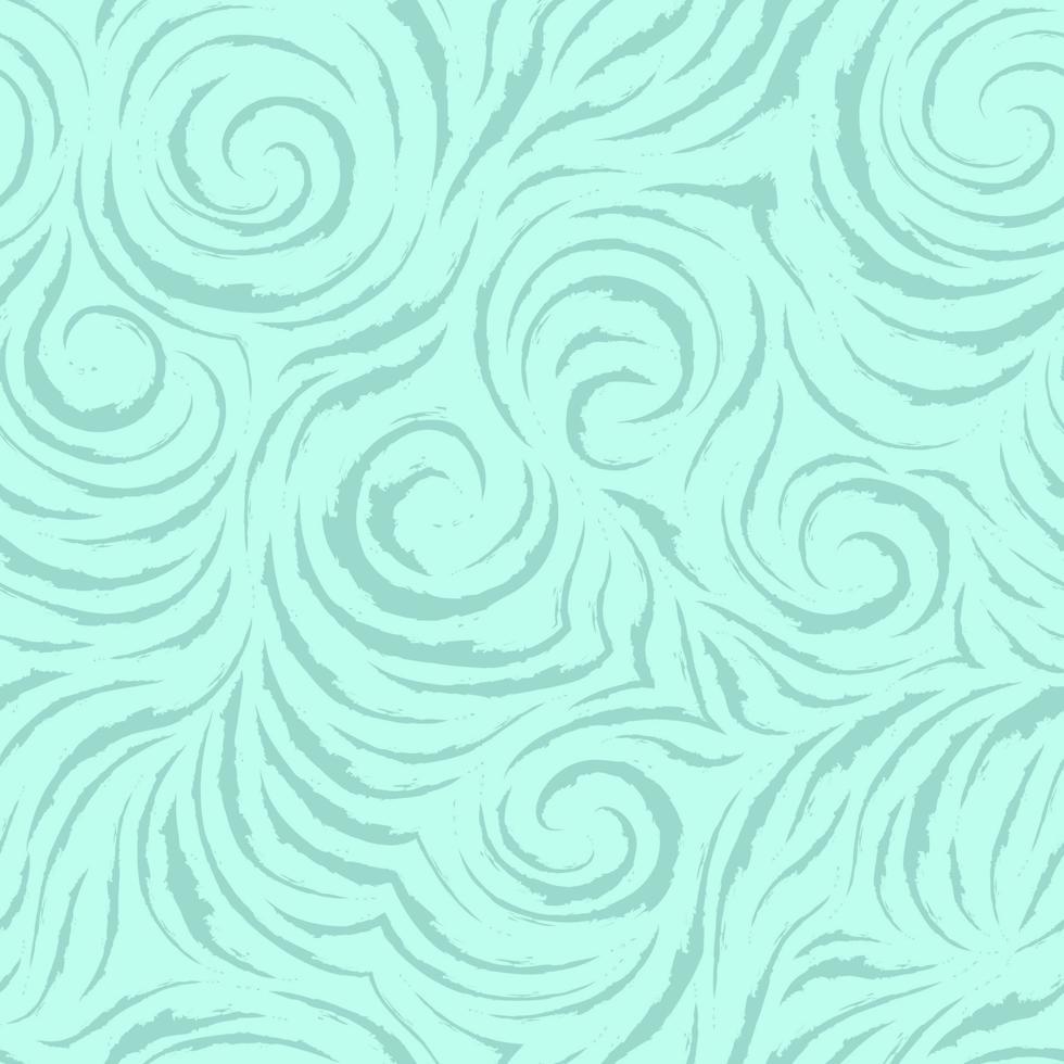 modello turchese di vettore senza soluzione di continuità di linee morbide con bordi strappati sotto forma di cerchi e spirali. texture per rifinire tessuti o carta da regalo in colori pastello su uno sfondo di mare. oceano e onde.