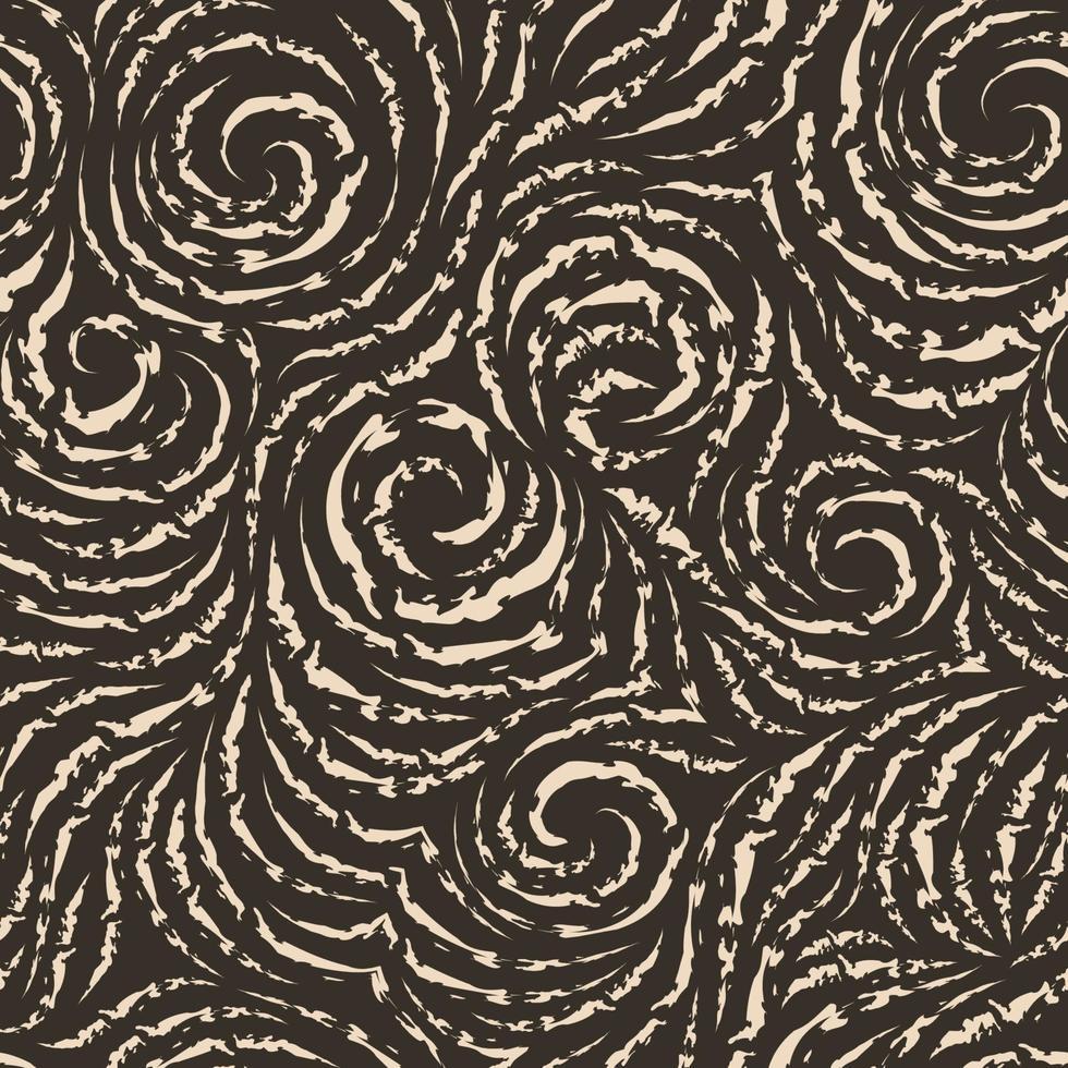 modello vettoriale senza soluzione di continuità di linee strappate sotto forma di cerchi e spirali. trama beige per la decorazione di tessuti o carta da imballaggio