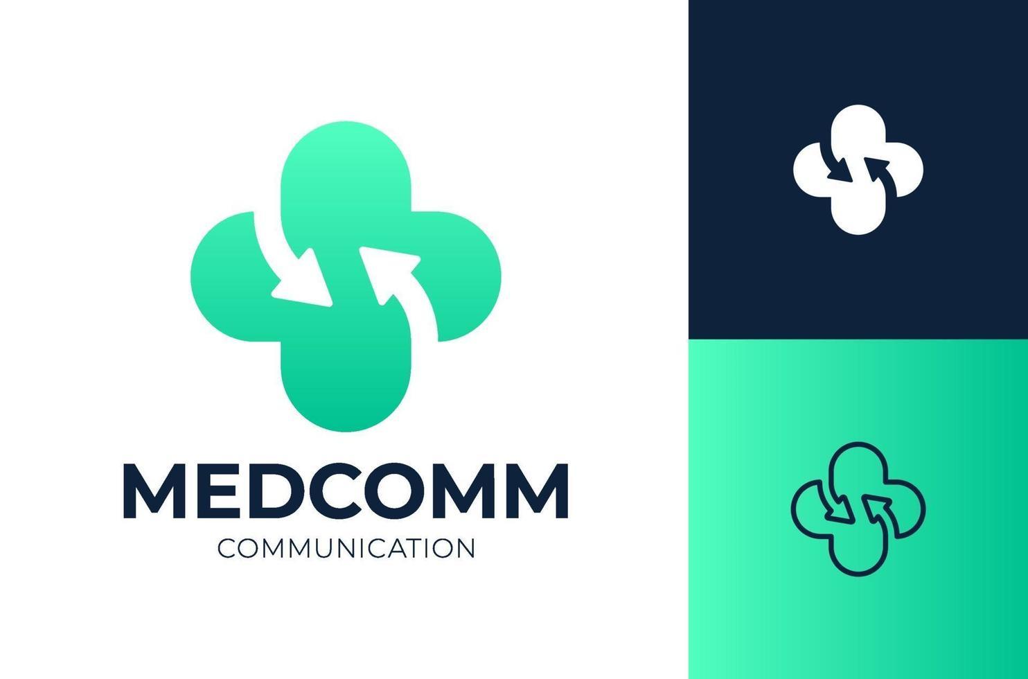 freccia sanità logo design illustrazione vettoriale. logotipo vettoriale croce medica collegare.