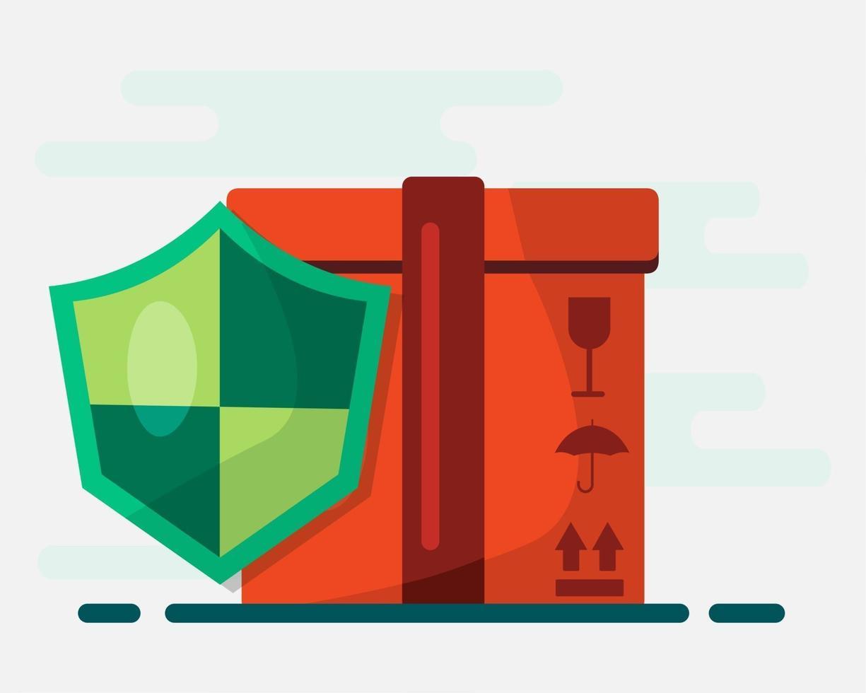 illustrazione di simbolo del concetto di assicurazione di consegna del pacchetto vettore