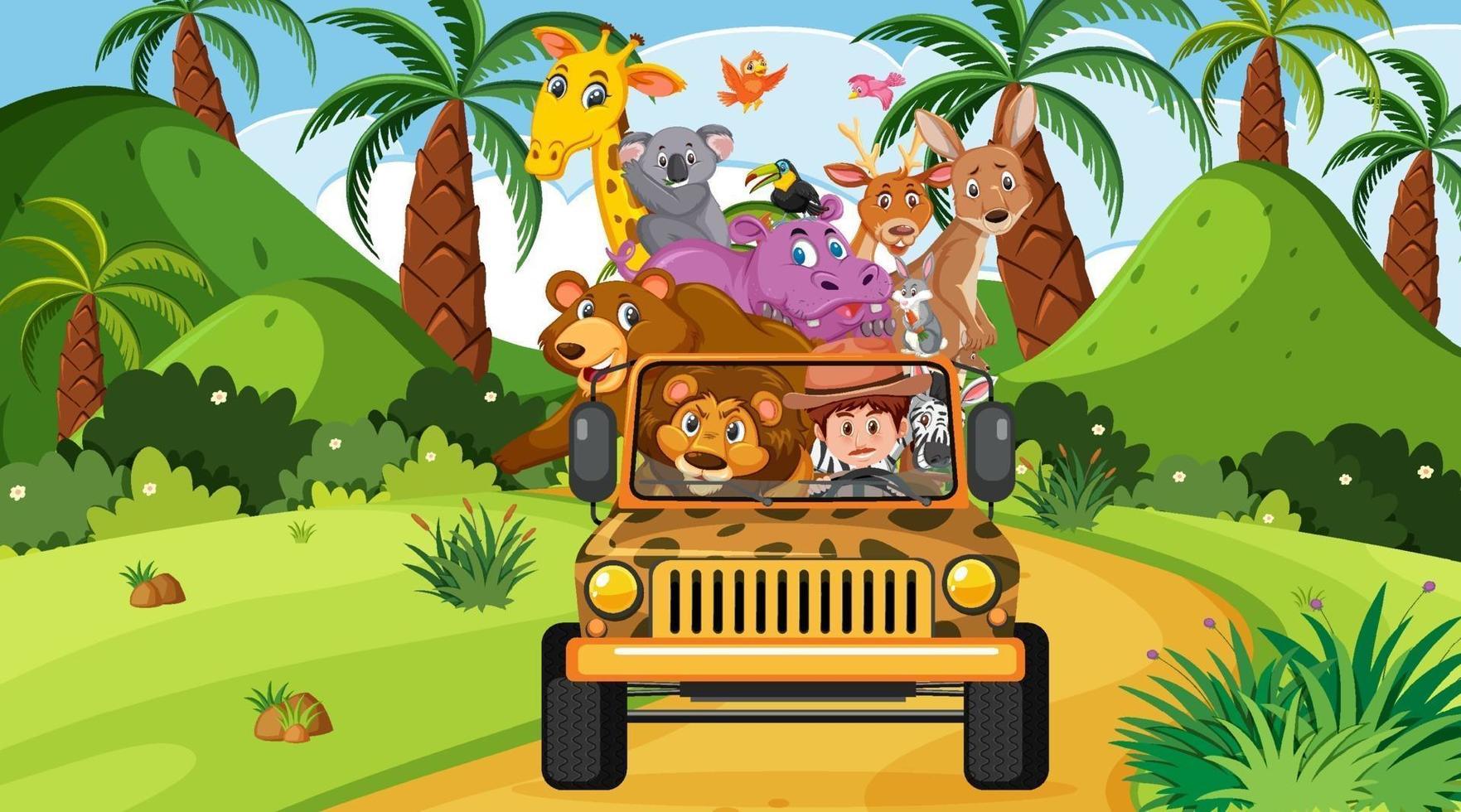 scena di safari con animali selvatici nell'auto jeep vettore