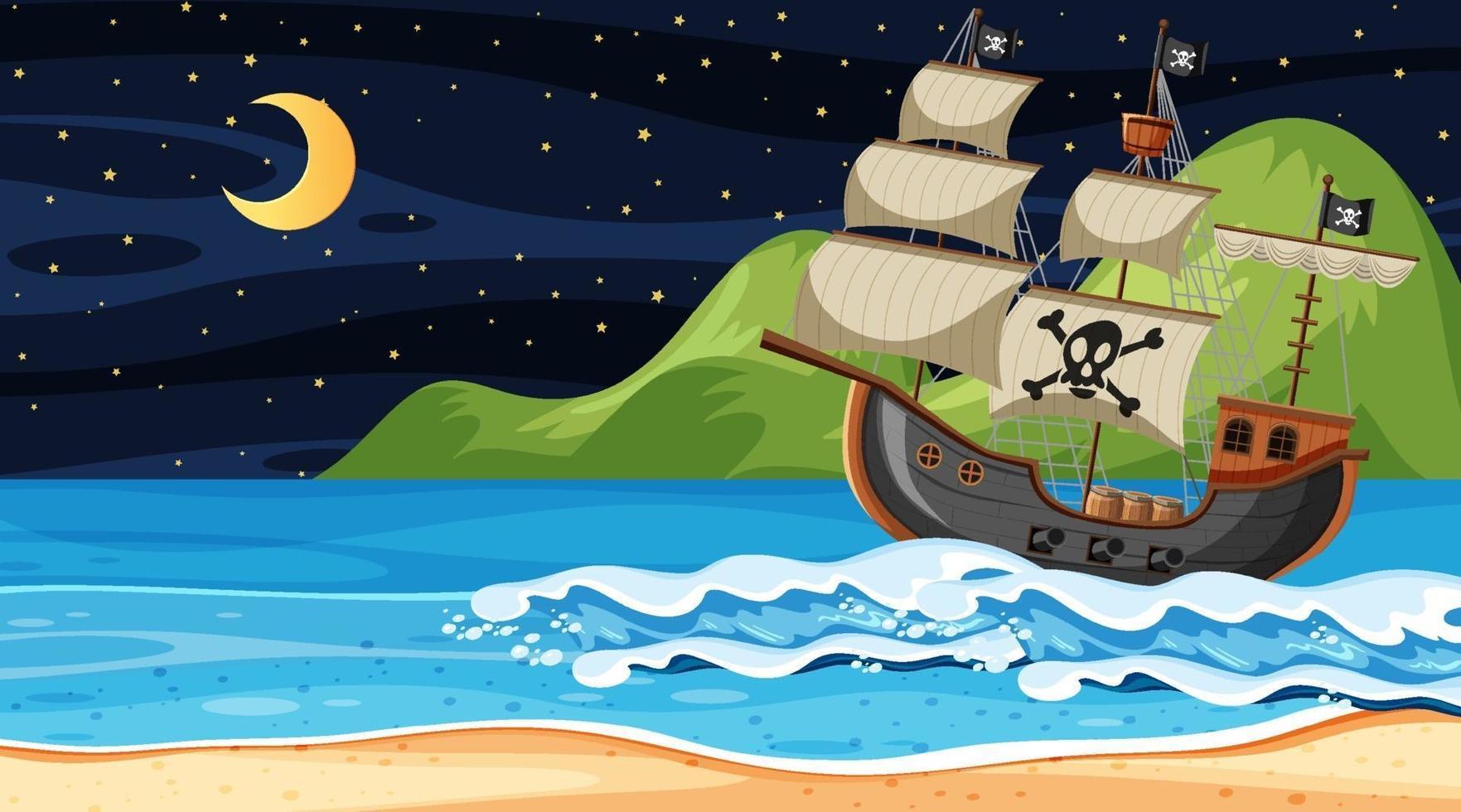 oceano con nave pirata di scena notturna in stile cartone animato vettore