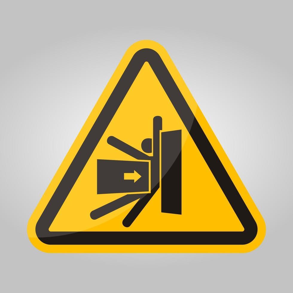 forza di schiacciamento del corpo dal segno simbolo laterale, illustrazione vettoriale, isolato su sfondo bianco etichetta .eps10 vettore