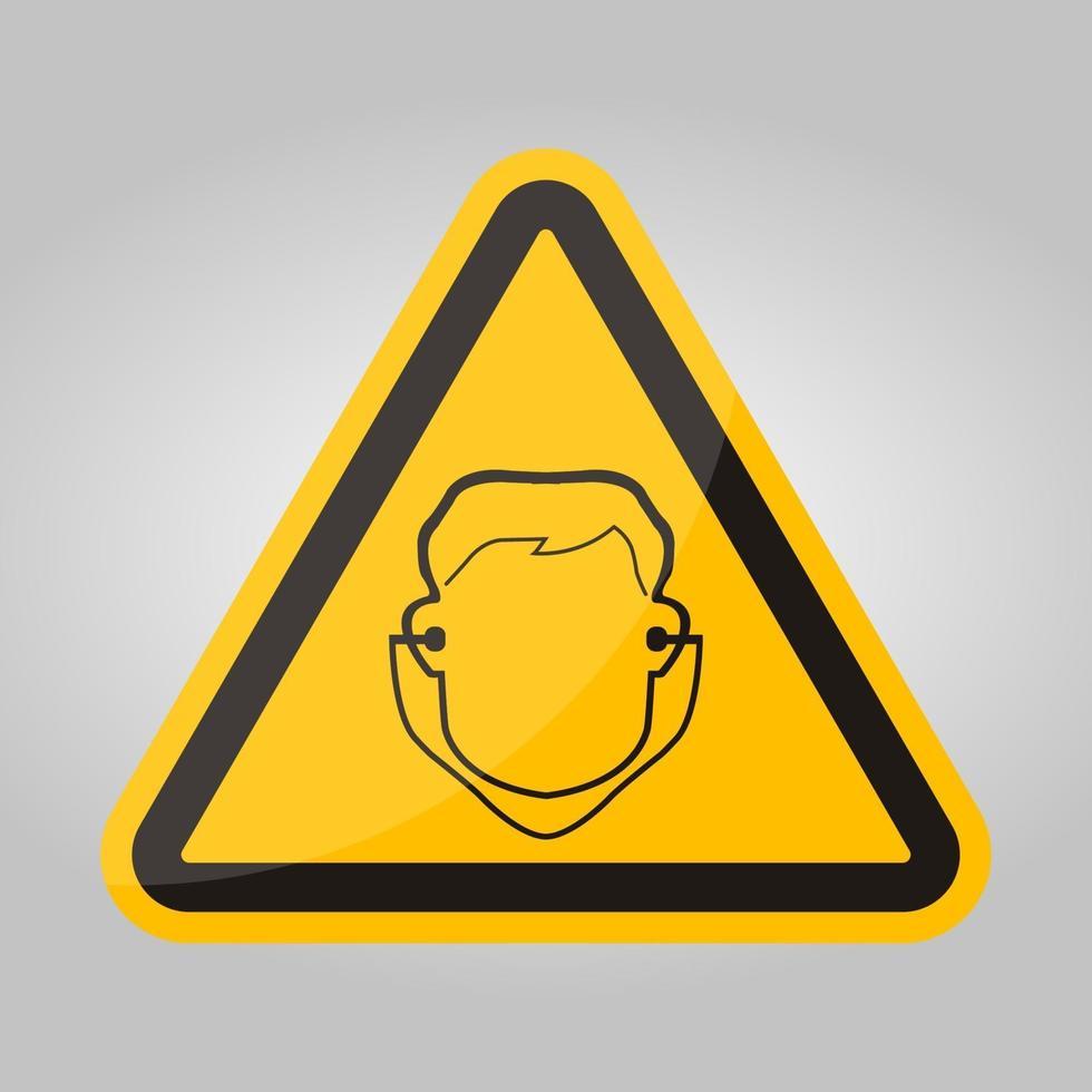 simbolo di usura tappo per le orecchie segno isolare su sfondo bianco, illustrazione vettoriale eps.10
