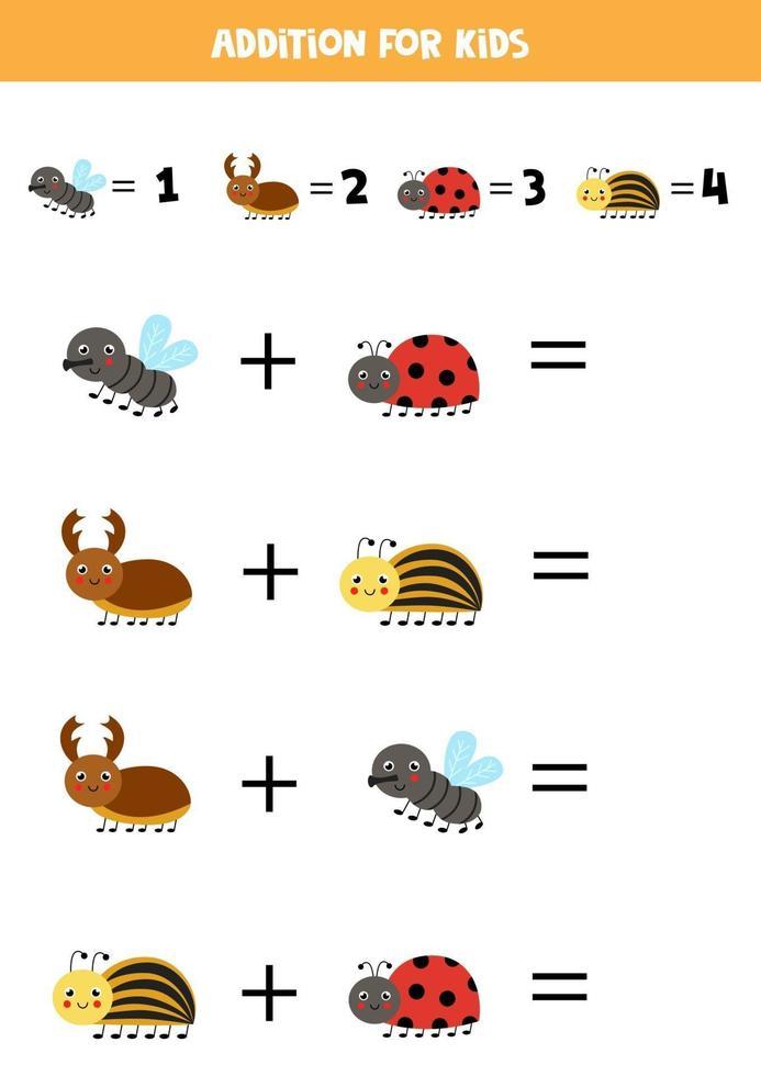 aggiunta per bambini con insetti simpatici cartoni animati. vettore