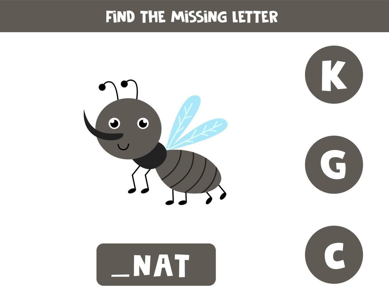 trova la lettera mancante con un simpatico moscerino. foglio di lavoro di ortografia. vettore