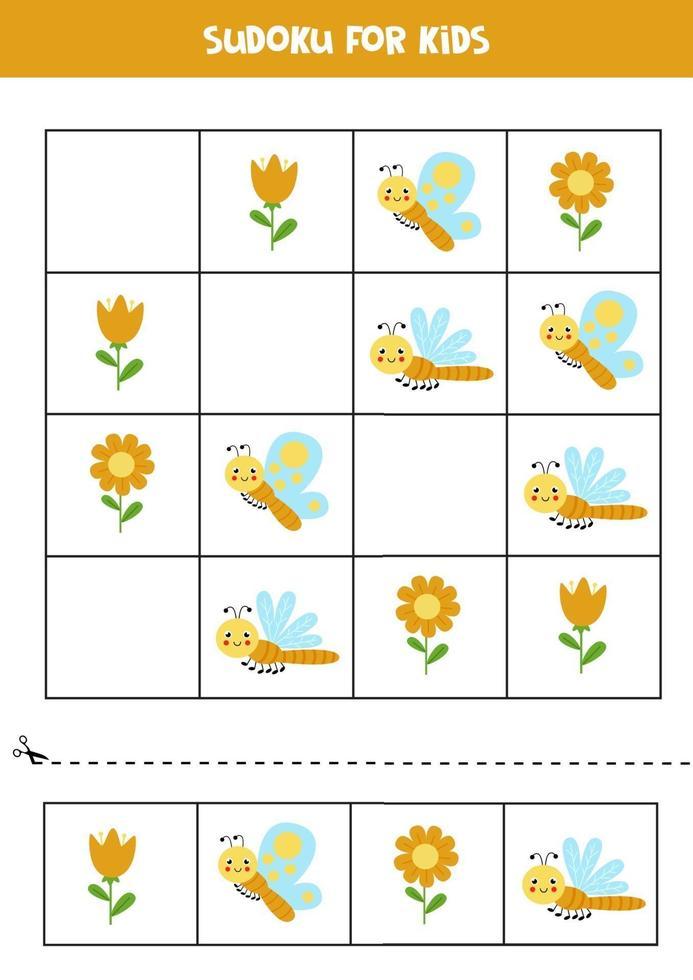 gioco di sudoku con simpatici insetti. per bambini. vettore