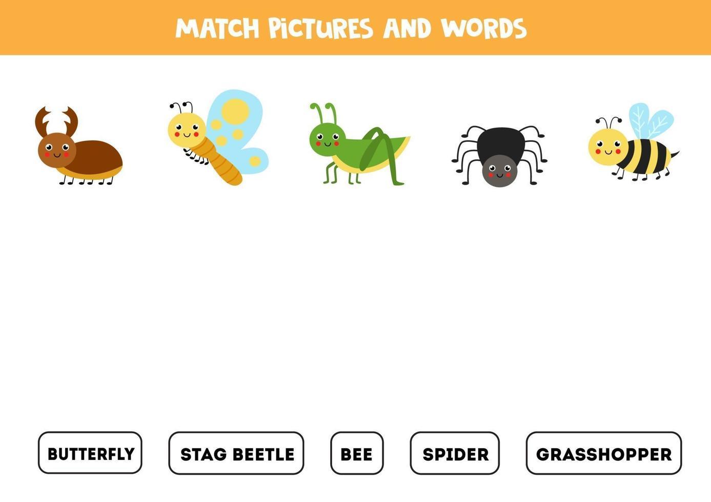abbina simpatici insetti e i loro nomi. gioco per bambini. vettore