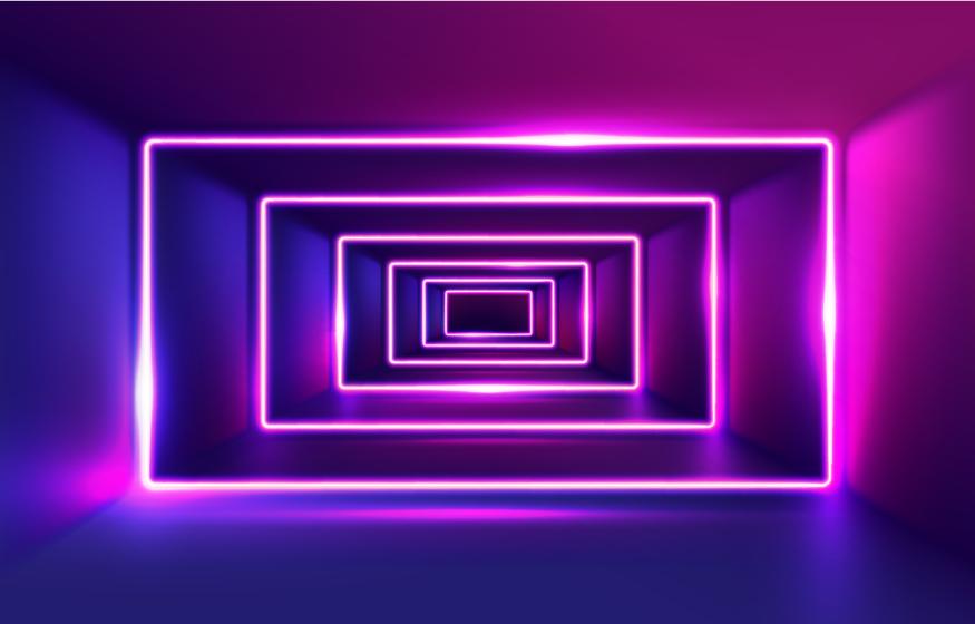 sfondo di tunnel di luci al neon realistiche vettore