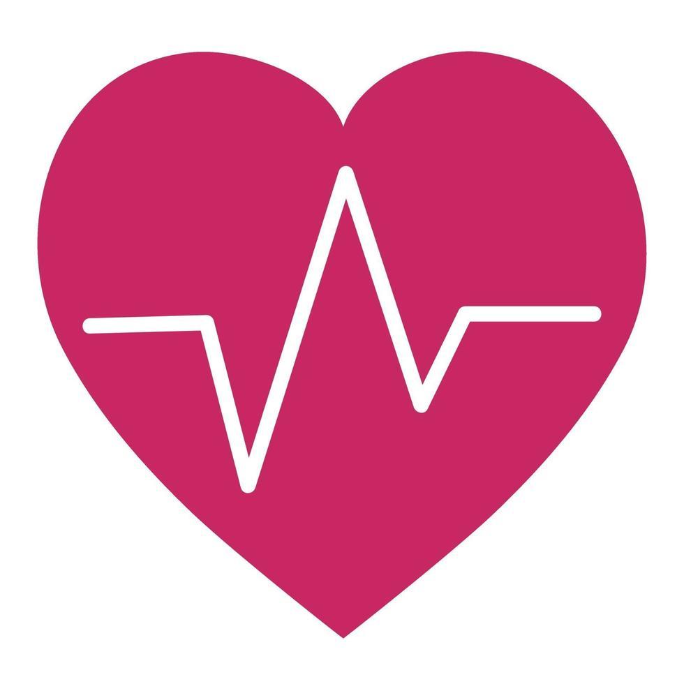 impulso cardiaco - linea bianca curva sullo sfondo del cuore - vettore