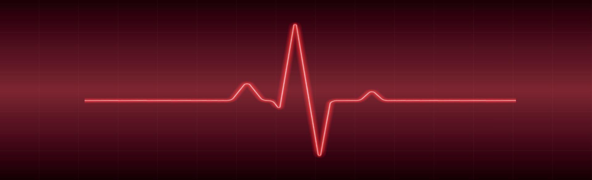 battito cardiaco - linea rossa curva su sfondo rosso-nero vettore