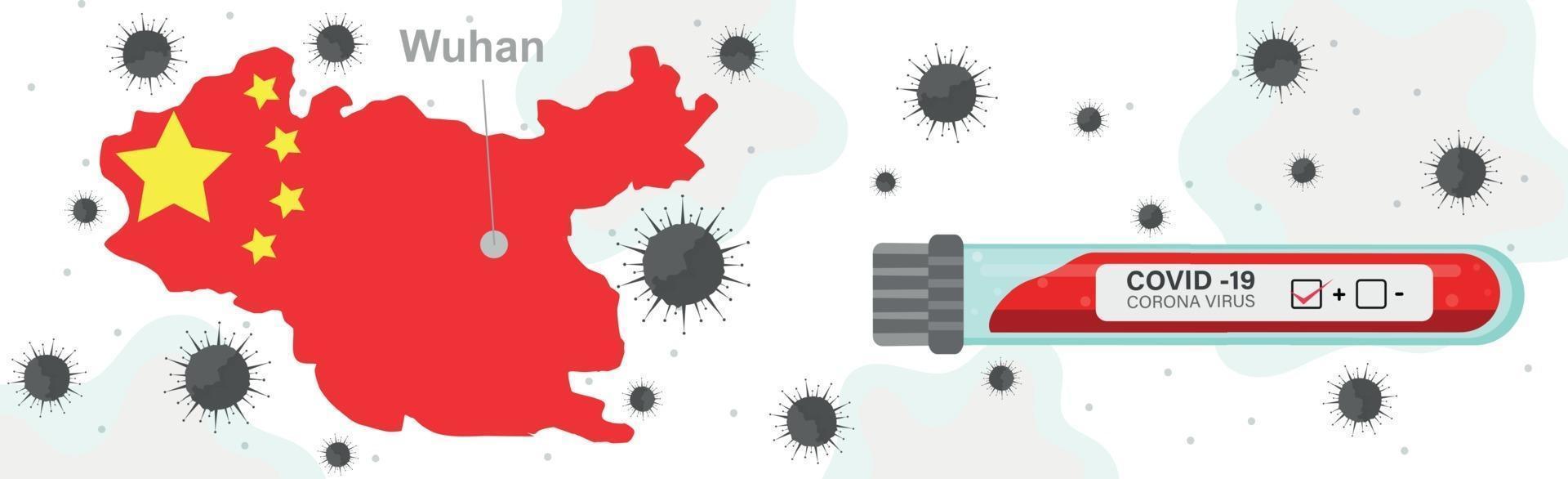 batteri romanzo virus covid-19, wuhan città della cina - vettore