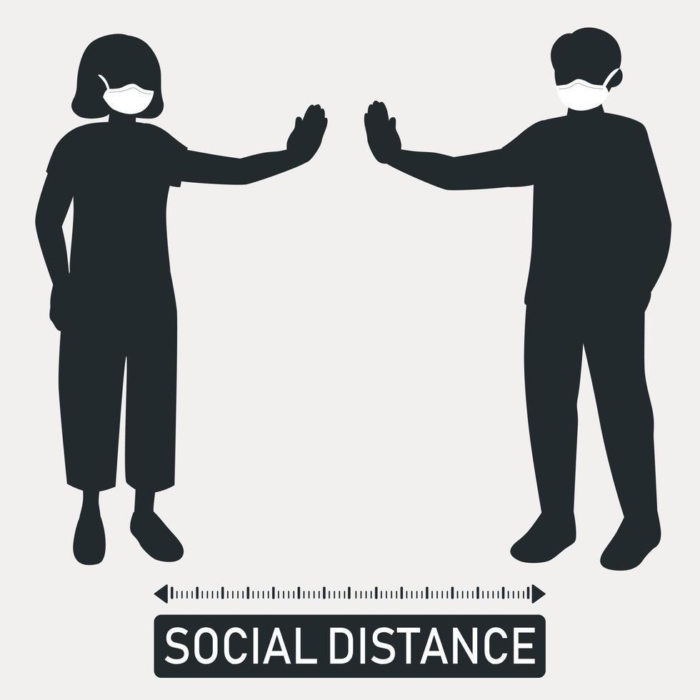 nuova tendenza mondiale distanza sociale, conseguenze pandemiche - vettore