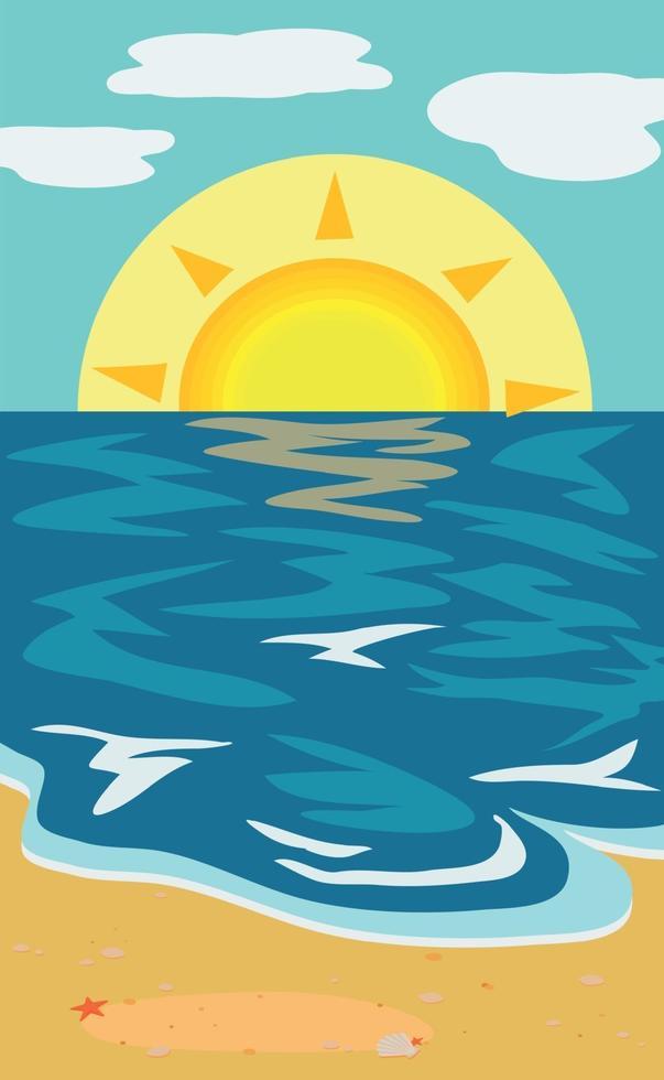 illustrazione soleggiata spiaggia di sabbia e mare blu vettore