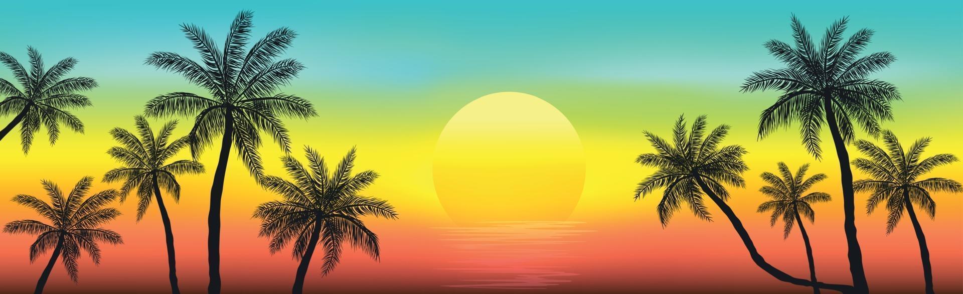 tramonto sulla spiaggia con palme vettore