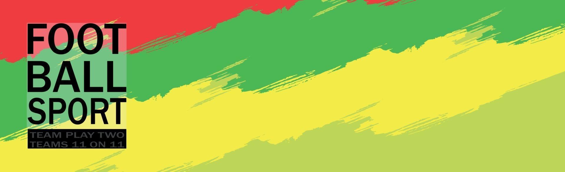panorama di calcio su uno sfondo multicolore con testo - vettore