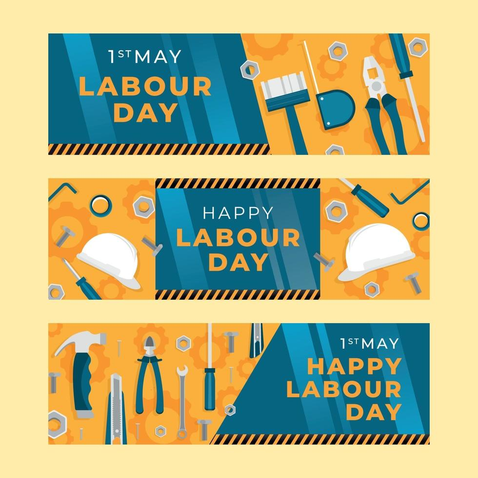 felice raccolta di banner festa del lavoro vettore