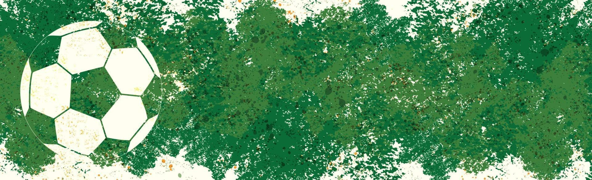 impronta di un pallone da calcio su uno sfondo verde - vettore