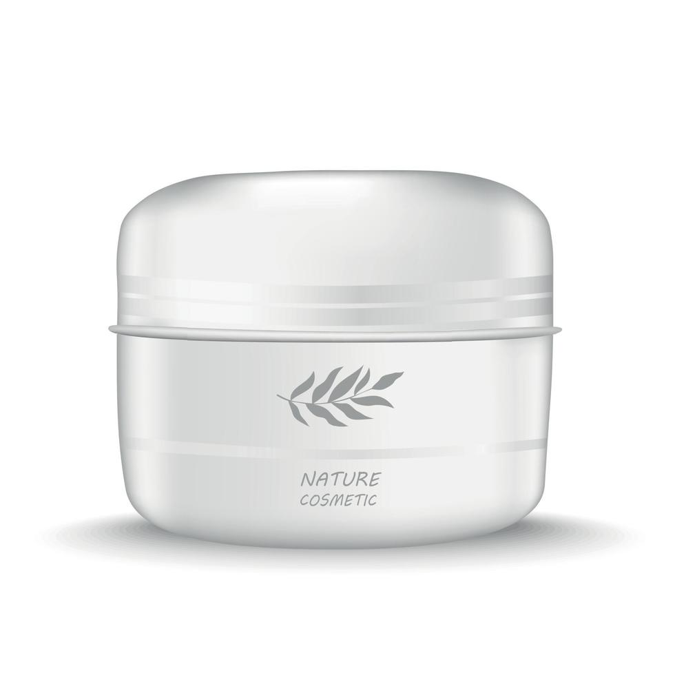 barattolo bianco di crema cosmetici naturali - vettore