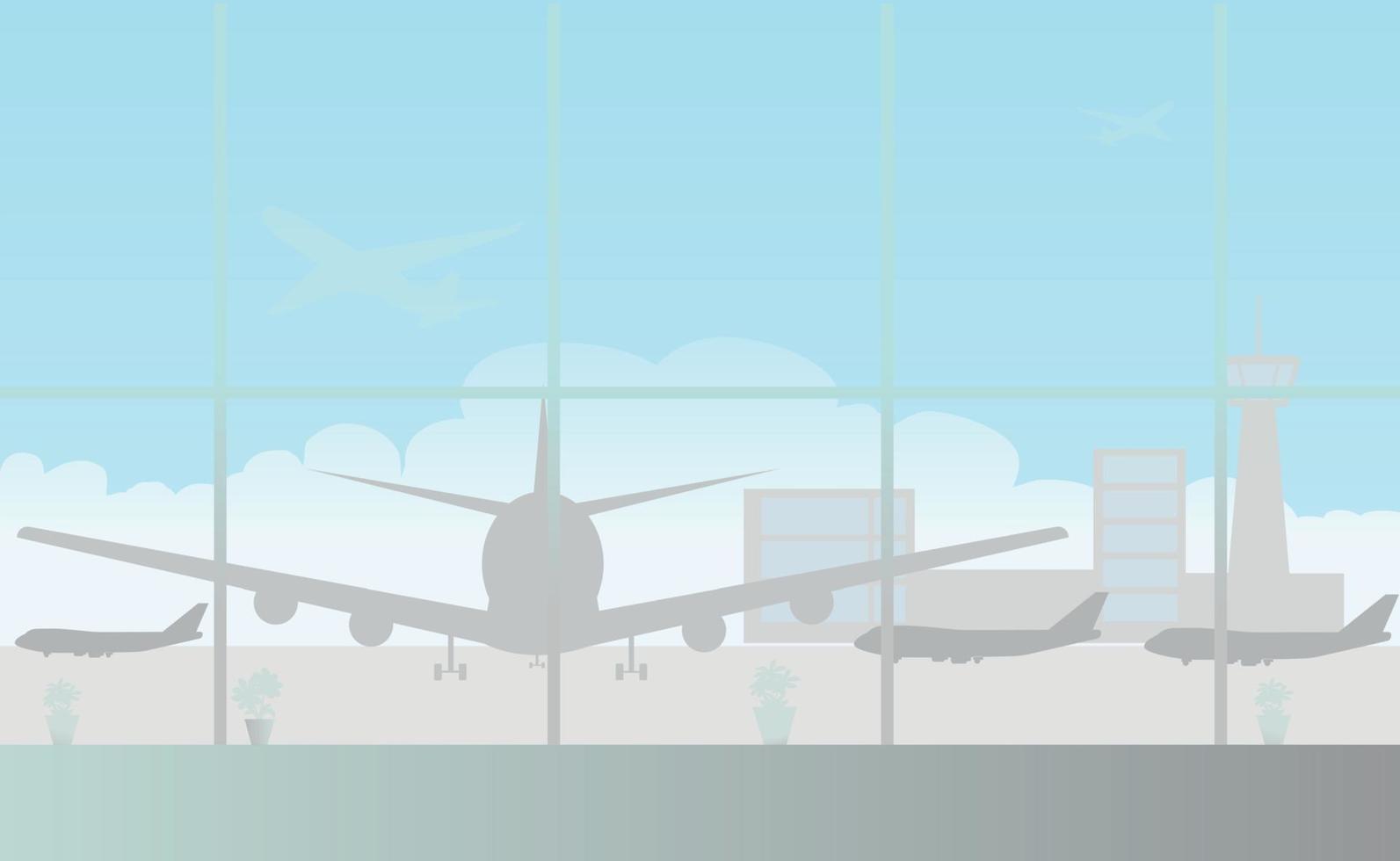 sala d'attesa vuota con ampie finestre panoramiche in aeroporto vettore