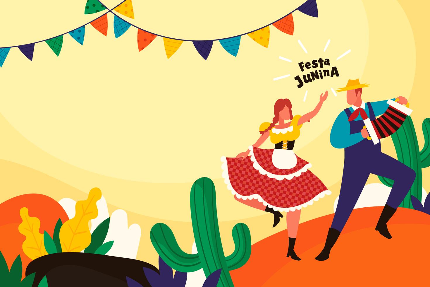 concetto di sfondo festa junina in stile piatto vettore