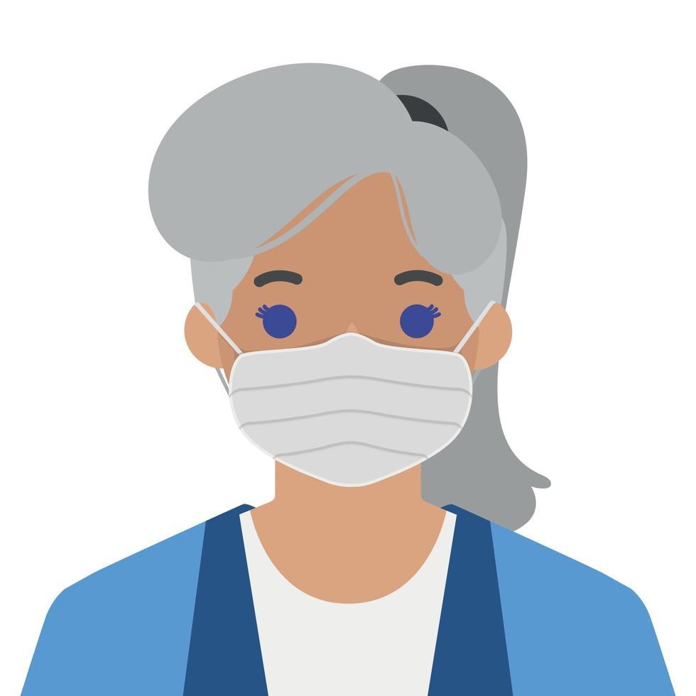 ragazza in una mascherina medica sterile - vettore