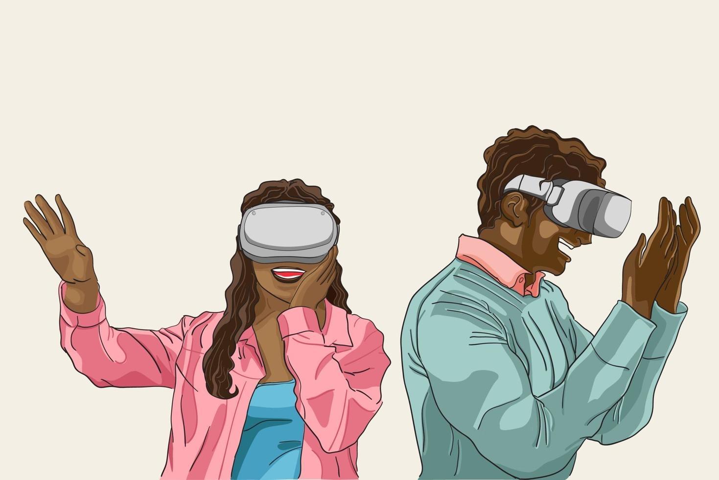 persone eccitanti come utilizzare il dispositivo vr di realtà virtuale, un paio di persone di colore in stile capelli ricci afro piacevole con dispositivo vr, contenuto per collaboratore, illustrazione vettoriale piatta.
