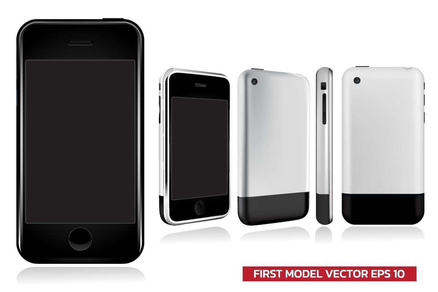 prima generazione di modello di smartphone in vista diversa anteriore, laterale, posteriore, mock up realistica illustrazione vettoriale su sfondo bianco.