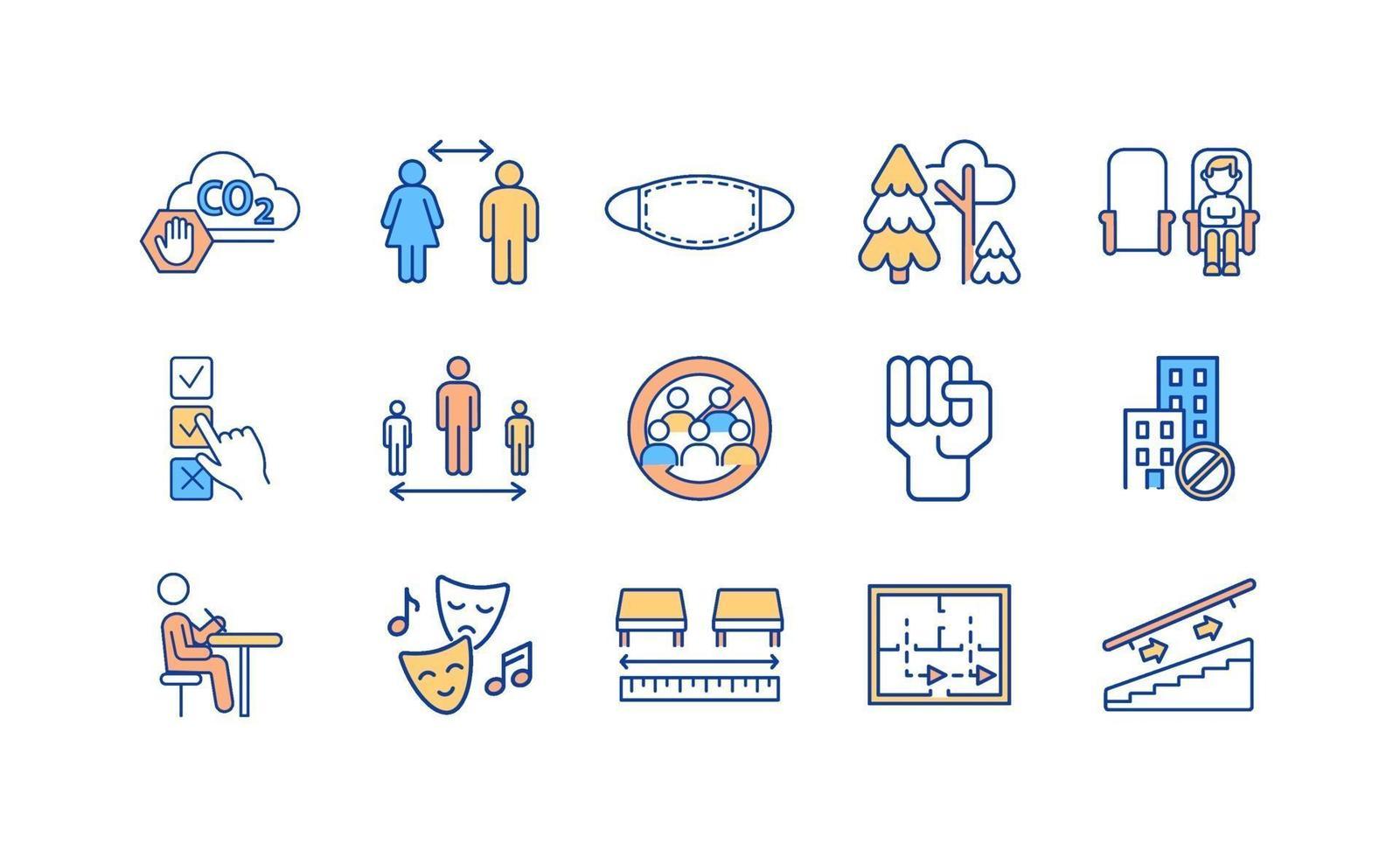 nuovo normale set di icone a colori rgb vettore