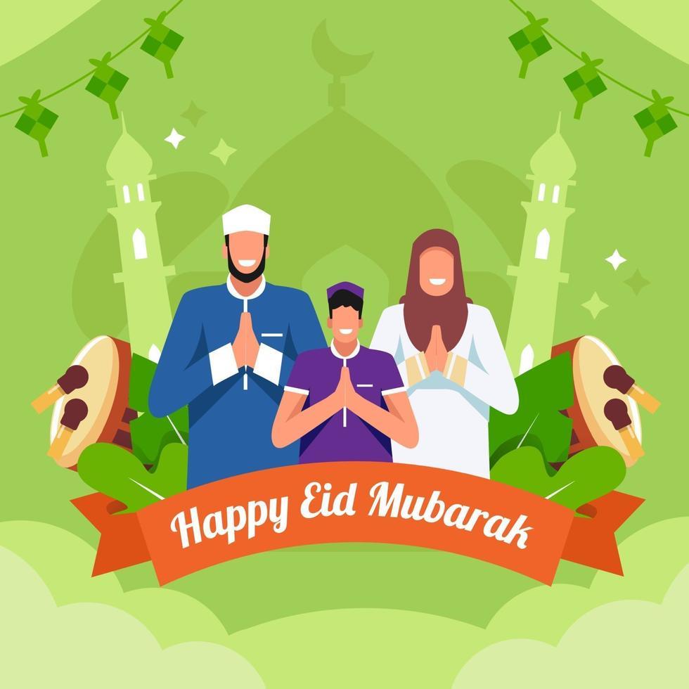 felice eid mubarak design vettore