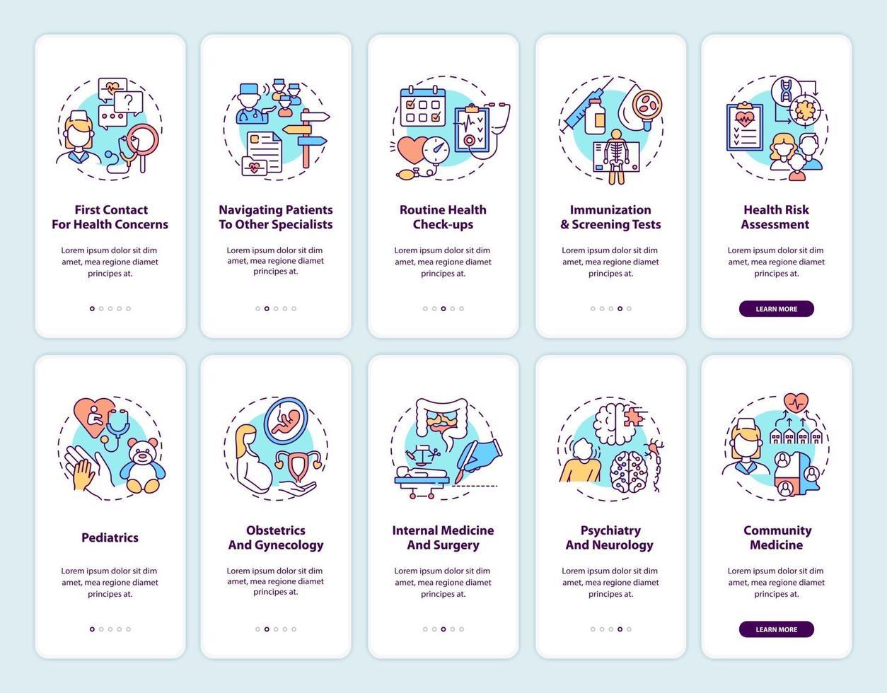 schermata della pagina dell'app mobile di onboarding medico di famiglia con concetti impostati vettore