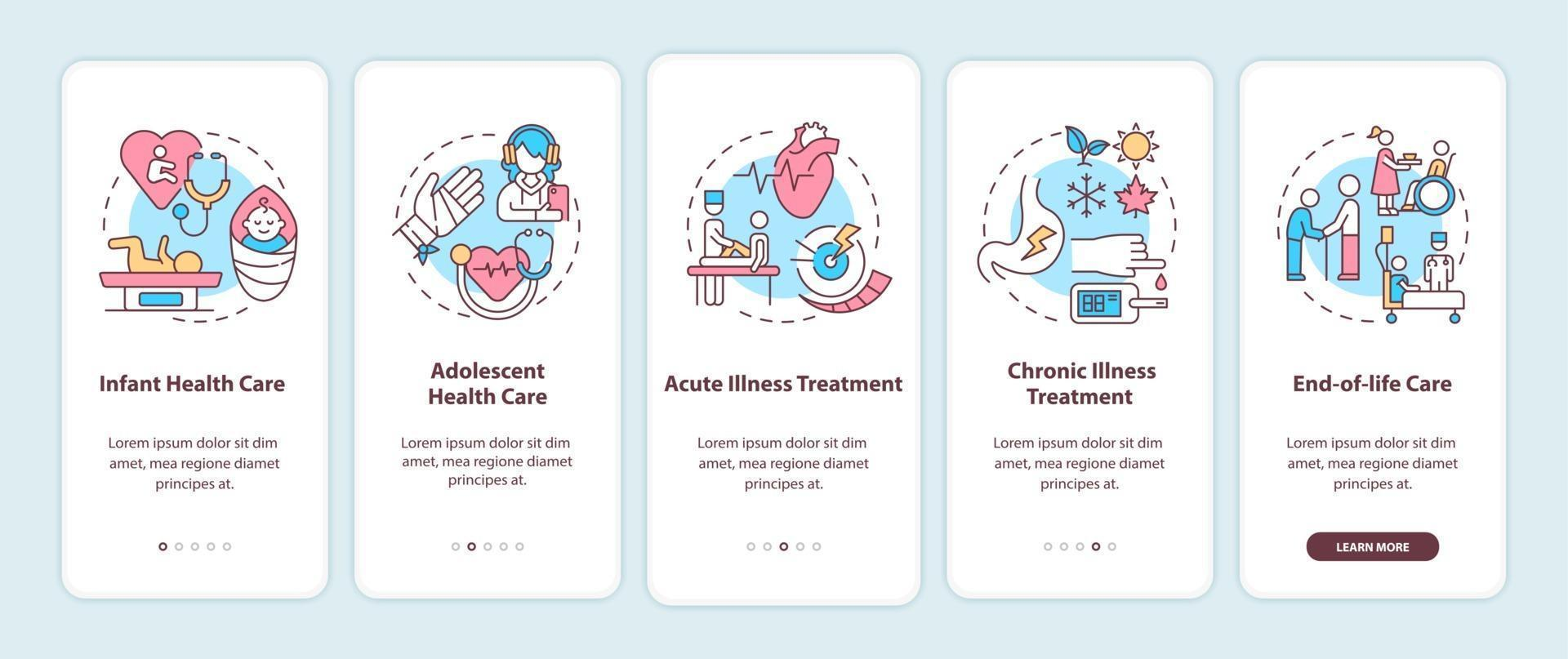 supporto medico di famiglia onboarding schermata della pagina dell'app mobile con concetti vettore