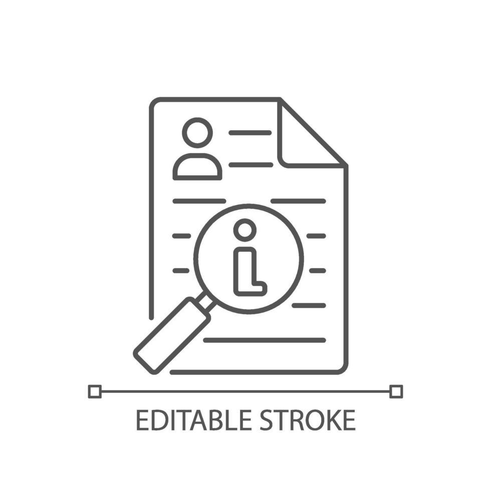 icona lineare di broker di informazioni vettore