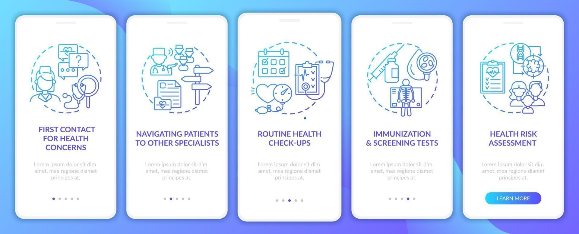 compiti del medico di famiglia schermata della pagina dell'app mobile di onboarding della marina con concetti vettore