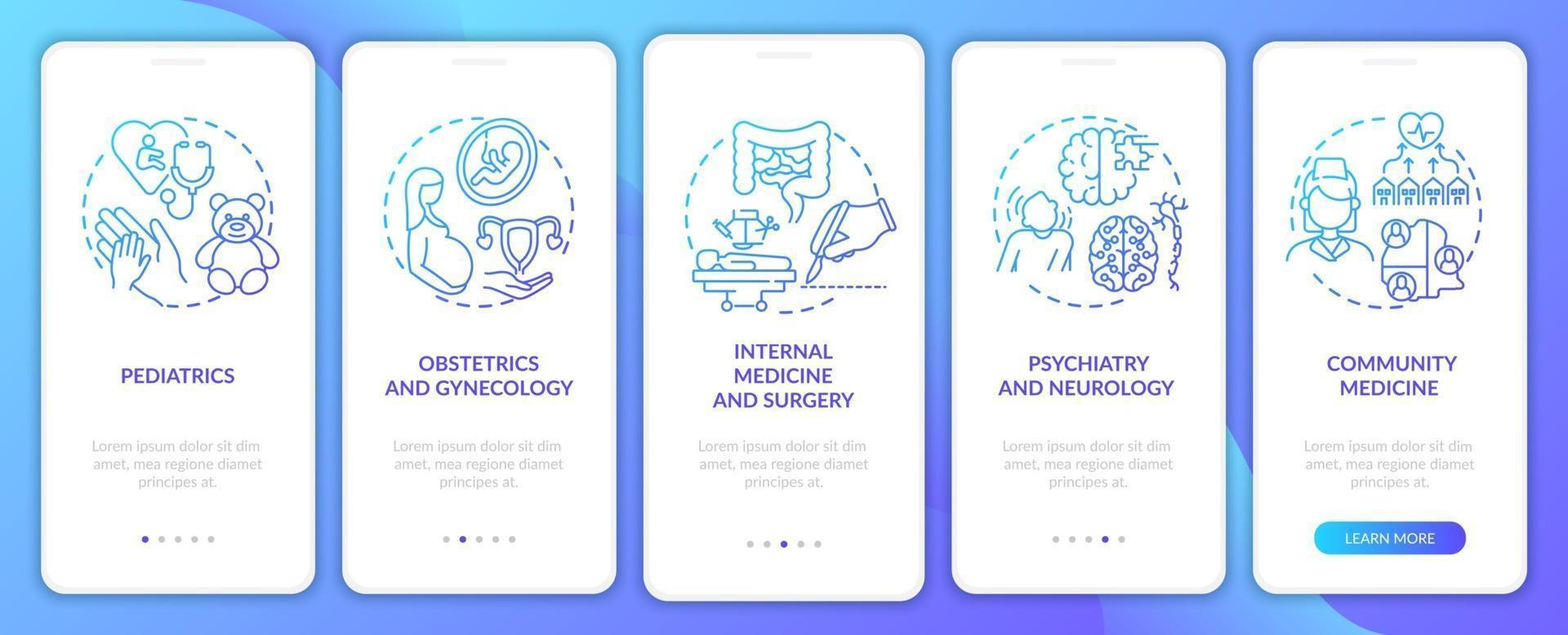 componenti della medicina di famiglia schermata della pagina dell'app mobile onboarding della marina con concetti vettore