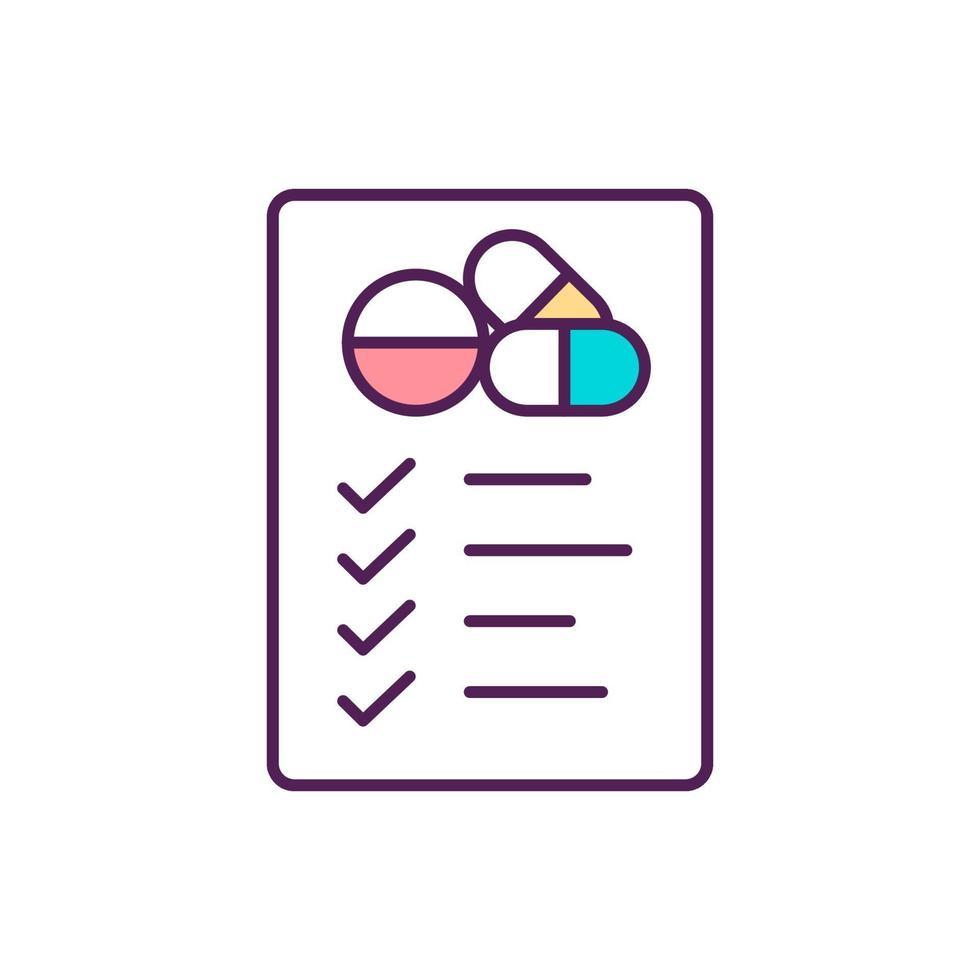 icona di colore di farmaci da prescrizione rgb vettore