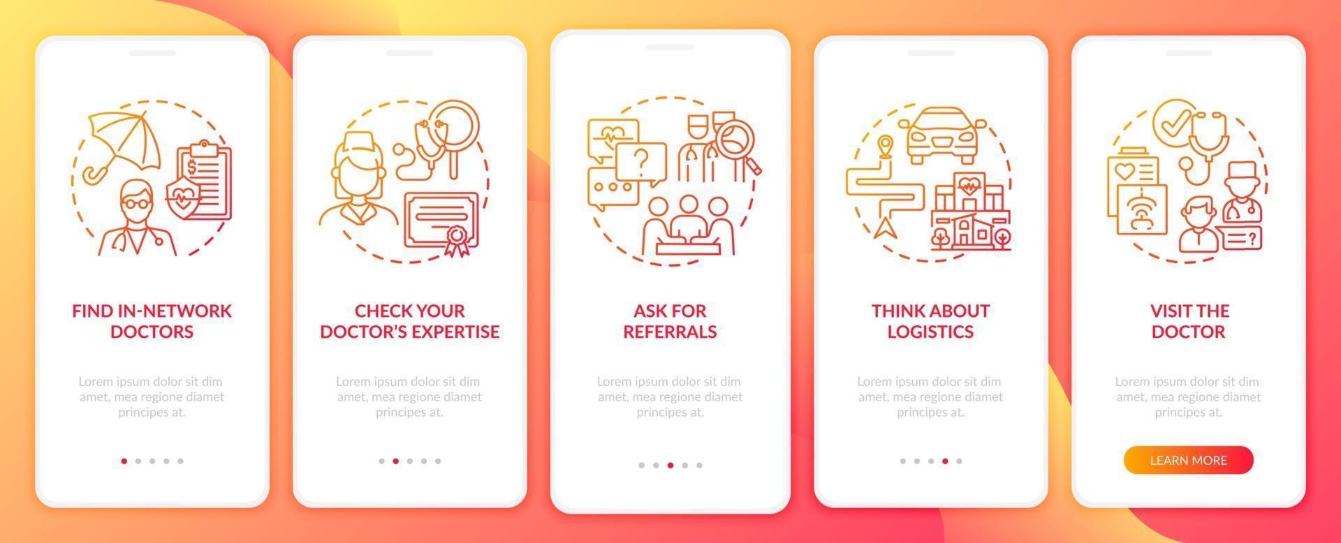 scegliendo i consigli del medico di base nella schermata della pagina dell'app mobile di onboarding rossa con i concetti vettore