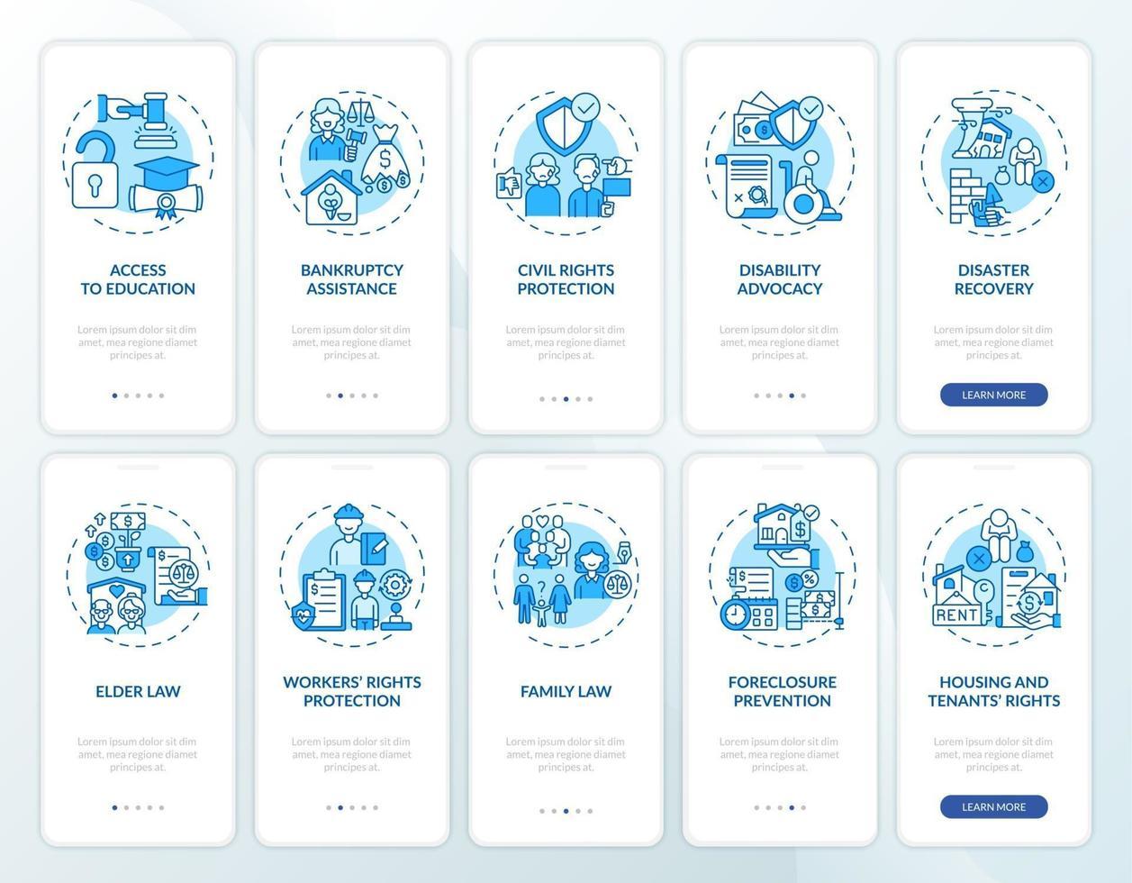 servizi legali onboarding schermata della pagina dell'app mobile con concetti vettore