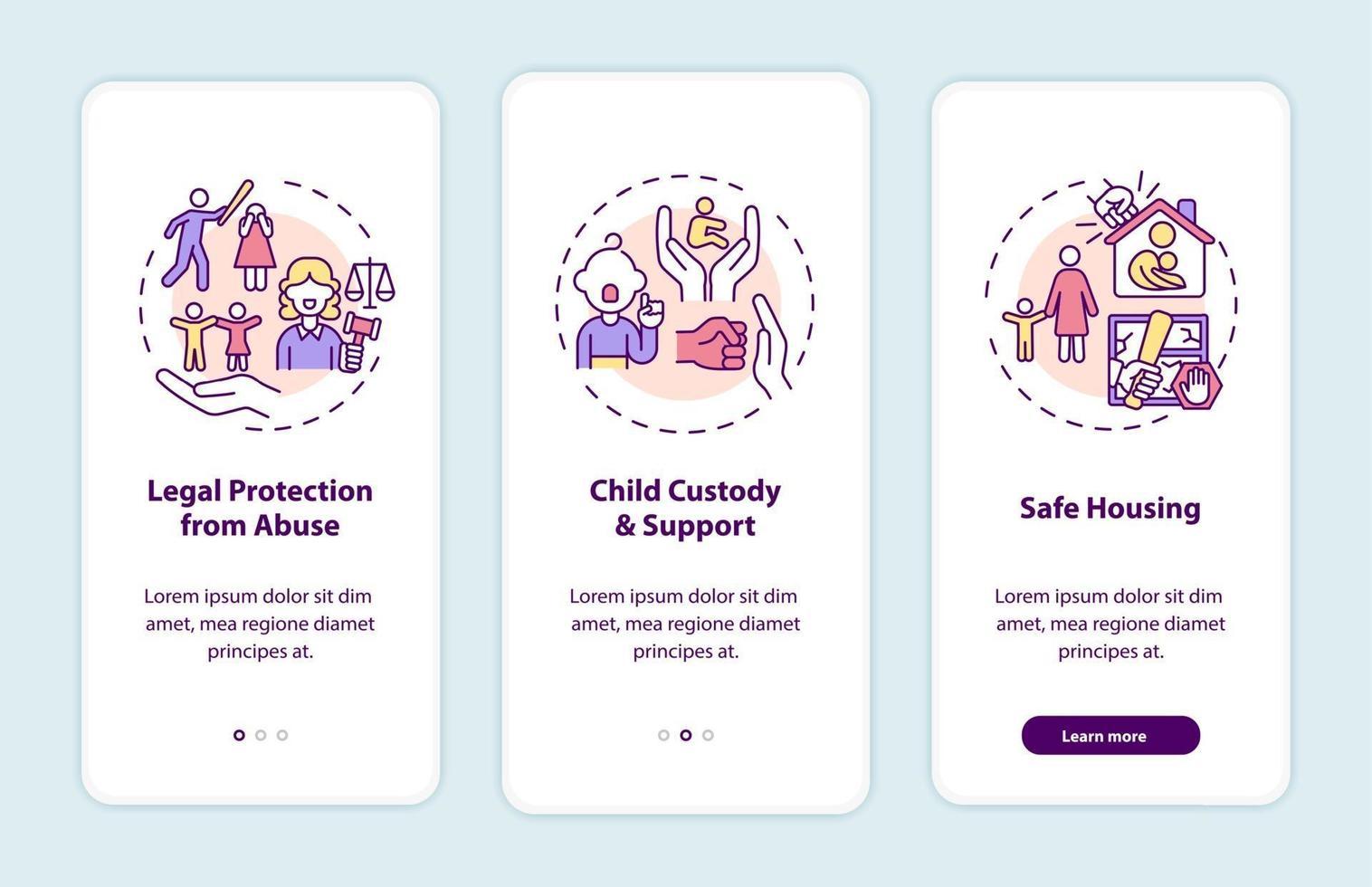 i sopravvissuti alla violenza domestica supportano l'onboarding della schermata della pagina dell'app mobile con concetti vettore