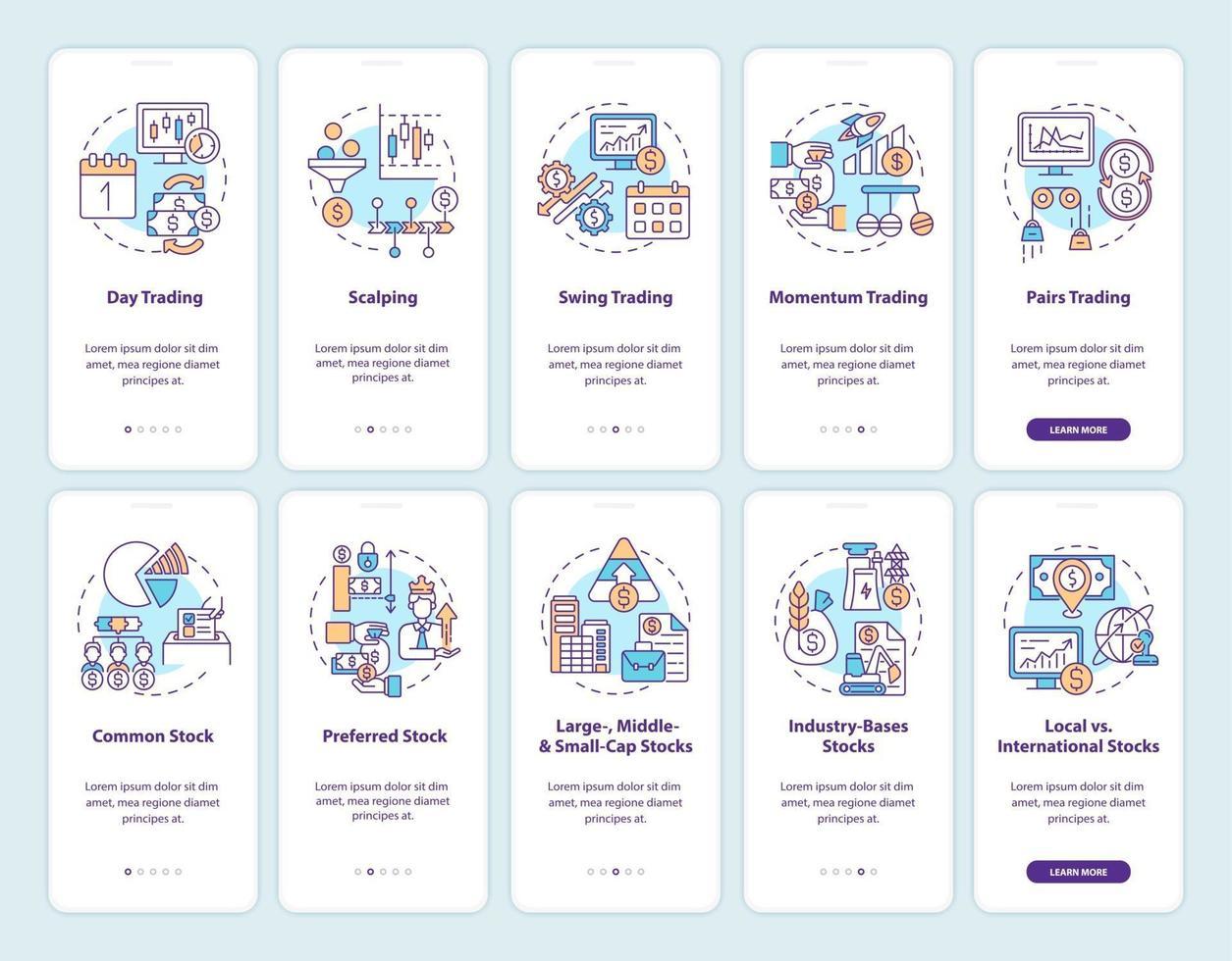 acquisto e vendita di azioni onboarding schermata della pagina dell'app mobile con concetti impostati vettore