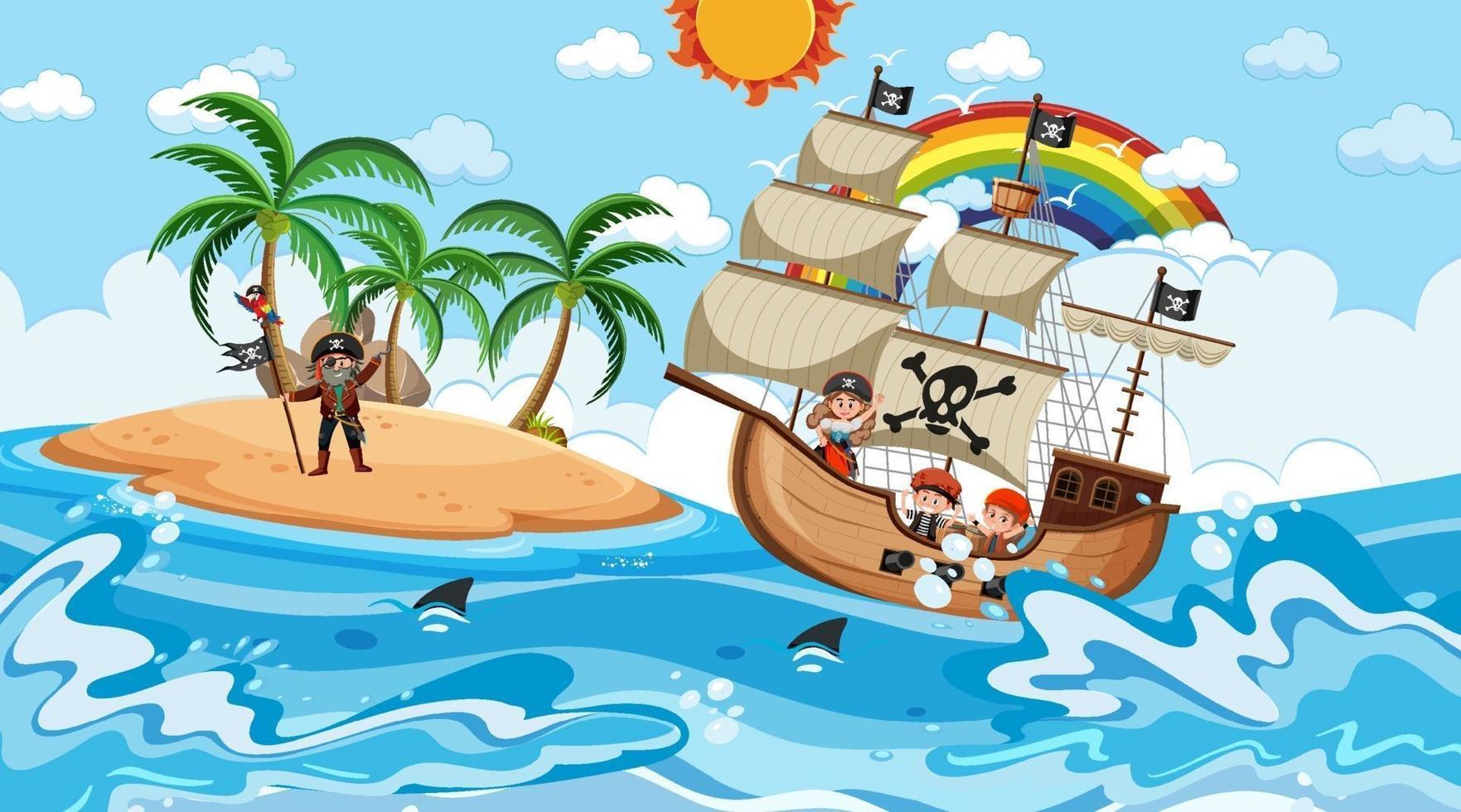 spiaggia con nave pirata nella scena diurna in stile cartone animato vettore