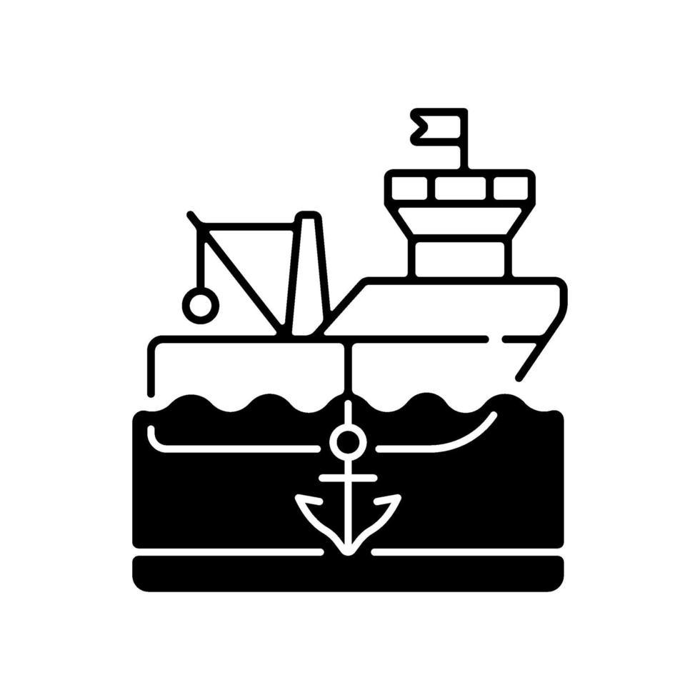 icona lineare nera di nave ancorata vettore