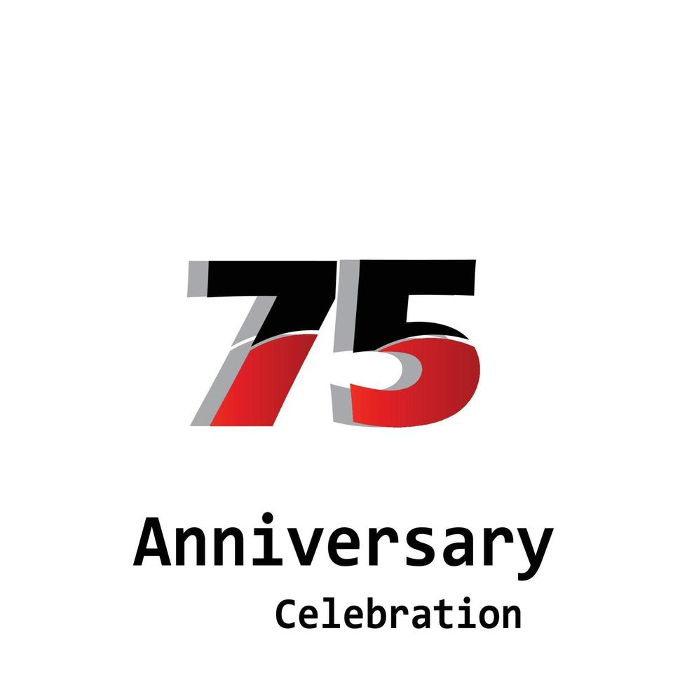 Illustrazione di progettazione del modello di vettore di colore rosso di celebrazione di anniversario di 75 anni