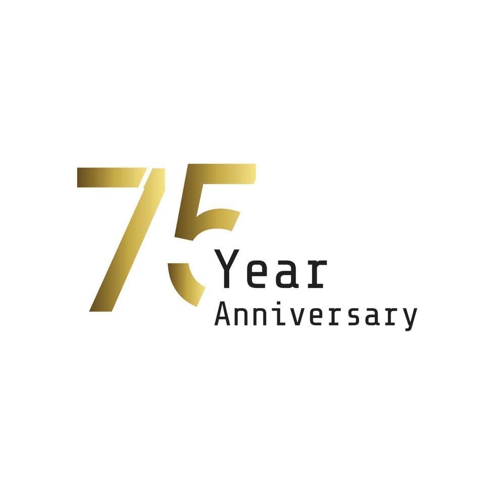 Illustrazione di progettazione del modello di vettore di colore di sfondo bianco oro di celebrazione di anniversario di 75 anni