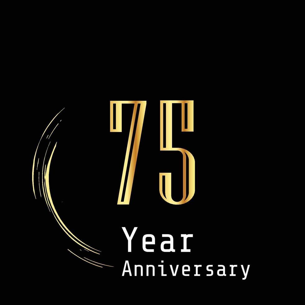Illustrazione di progettazione del modello di vettore di colore di sfondo nero oro celebrazione anniversario 75 anni