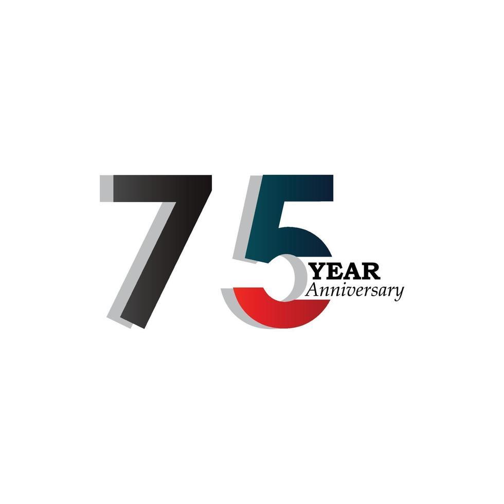 Illustrazione di progettazione del modello di vettore di colore blu di celebrazione di anniversario di 75 anni